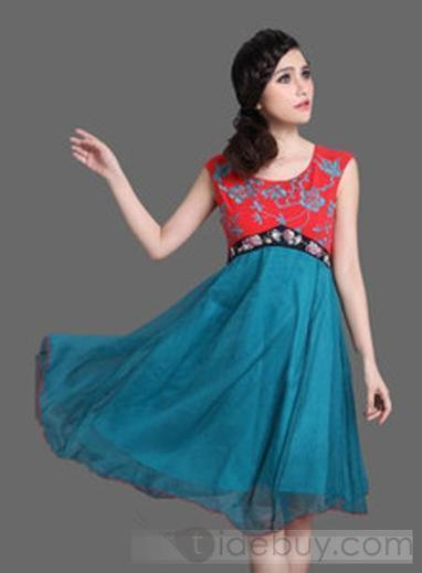 Best Quality Split Joint Empire Waist Chiffon Chinese Style Dresses | sexy girl | Scoop.it