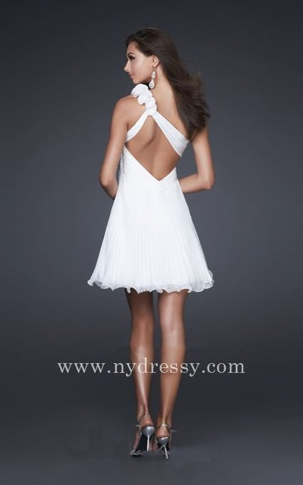 La Femme 16240 short pleated one shoulder white dress [La Femme 16240] - $155.00 : Prom Dresses | Evening Dresses | Dresses From nydressy.com | Dresses for girls | Scoop.it