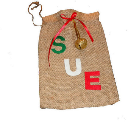 Personalized Christmas Burlap Bag Gift Bag Gift Wrap Party Favor bags with drawstring   Christmas Ideas and Gifts   Scoop.it
