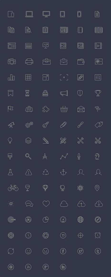 Free Premium 100 Line Icons set download - Freebie - Designmain.com | Designmain.com - Design, Inspiration & Freebies | Scoop.it