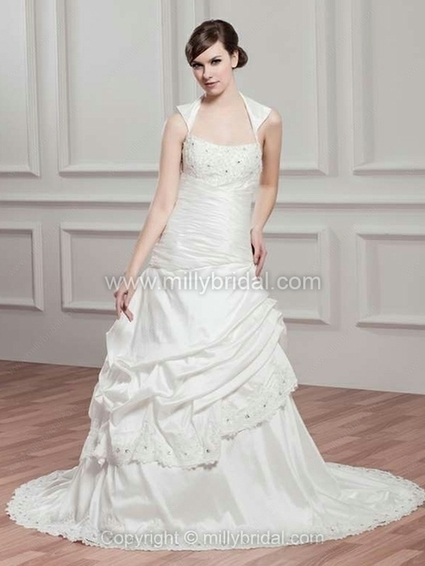Princess Square Taffeta Court Train Appliques Wedding Dresses - www.millybridal.com | wedding and event | Scoop.it