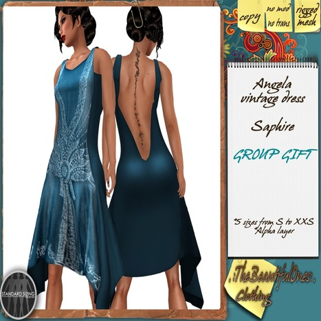Angela Vintage Dress Group Gift by The Beautiful One | Teleport Hub - Second Life Freebies | Second Life Freebies | Scoop.it
