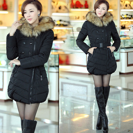 Discount Korean Fashion Fur Hooded Solid Long Slim Women Thicken Down & Parkas Coat in women down parkas on sightface.com | Latest for share | Scoop.it