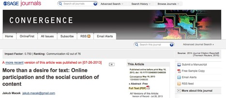 More than a desire for text: Online participation and the social curation of content | Curation in Higher Education | Scoop.it