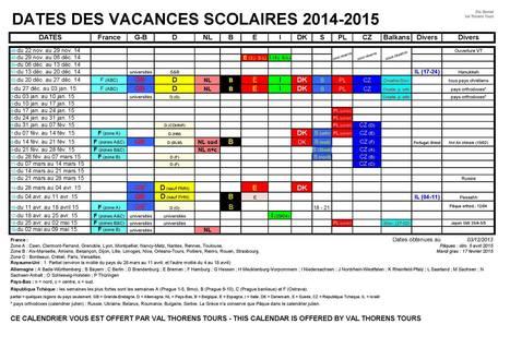 vacances scolaires europ ennes 2014 15