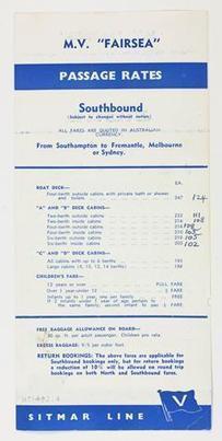 Leaflet - MV Fairsea, Passage Rates Southbound, 1959 - Museum Victoria | Faction | Scoop.it