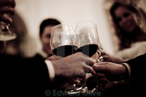 Wedding guests marriage reception party red wine glasses cheers at Picfair.com | Bodas | Scoop.it