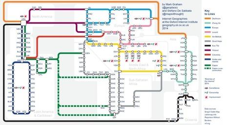 Internet en Carte: les câbles sous-marins en un plan de métro d'Internet | info-TICE | Scoop.it