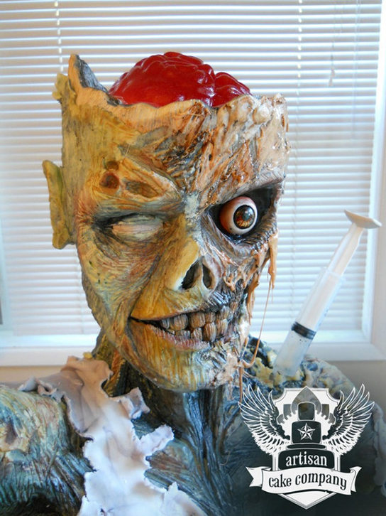 Little Too Realistic Zombie Cake (Technically Rice Krispy ...