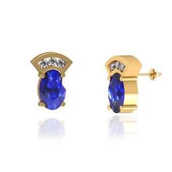 .8ctw Oval Tanzanite Earring With .06ctw Diamonds in 14k Yellow Gold | Tanzanite Earrings | Scoop.it