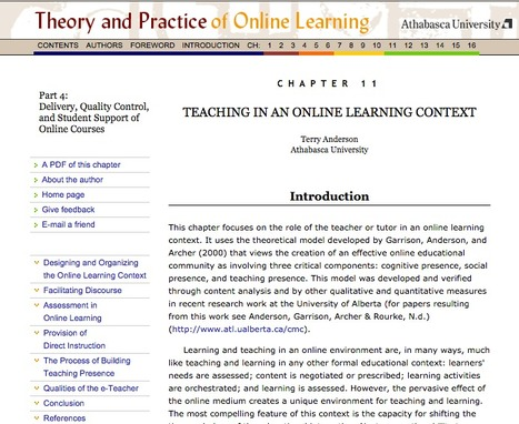 TEACHING IN AN ONLINE LEARNING CONTEXT by Terry Anderson | eLearning | Scoop.it