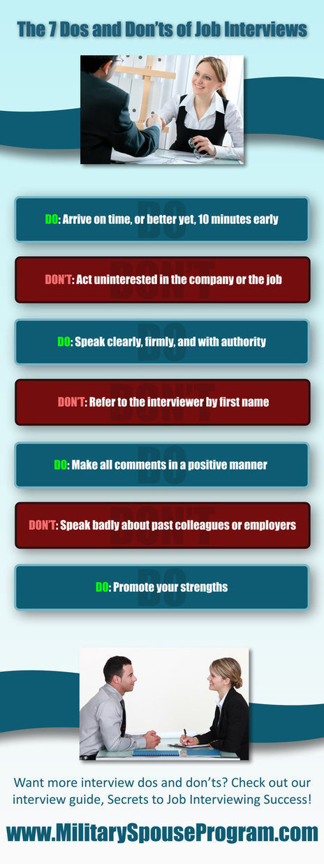 7 Dos and Don'ts of Job Interviews | Military Spouse Program | Scoop.it