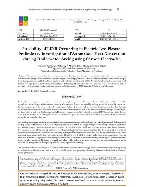 Possibility of LENR Occurring in Electric Arc-Plasma | LENR revolution in process, cold fusion | Scoop.it