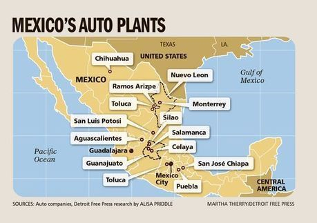 More car manufacturing jobs move south -- to Mexico | AP Human Geography @ Hermitage High School - Ms. Anthony | Scoop.it