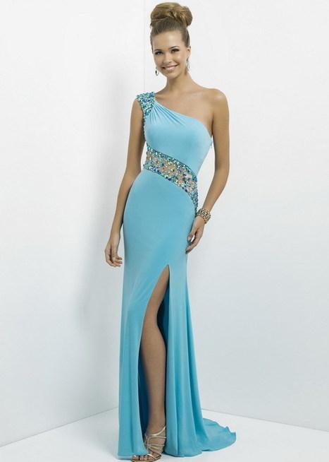 Aqua Long Slit Jersey Rhinestone Beaded illusion One Shoulder Prom Dress [Blush 9780 Aqua Long Dress] - $168.98 : Cheap Prom Dresses & Homecoming Dresses For Sale Online | prom dresses | Scoop.it
