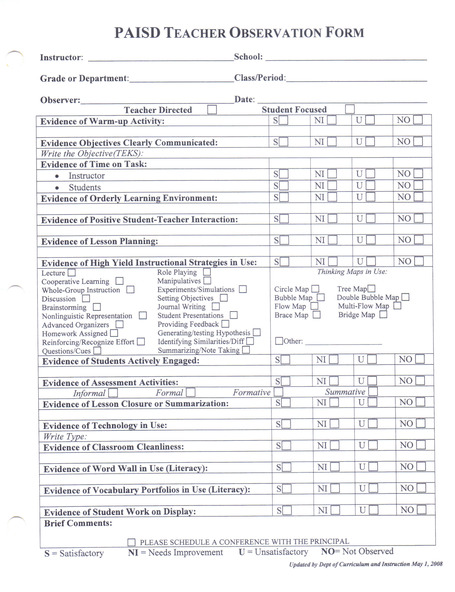 Collaborative Teaching Observation Form ~ Lessonobservationform search results calendar