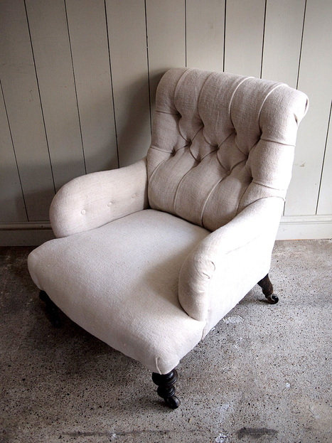 2a093__2013-buttoned-armchair-on-castors-early-th-century-upholstered-in-vintage-hemp.jpg (960×1280) | House Design | Scoop.it