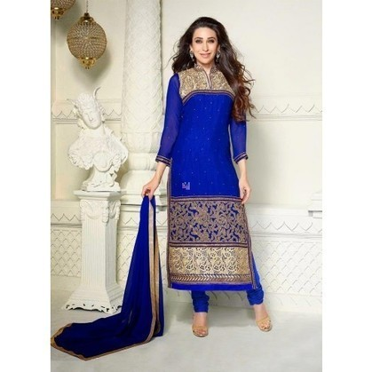 Karishma Kapoor Blue Georgette Churidar Kameez - TheEthnicWear | Designer Salwar Kameez | Party Wear Salwar Kameez | Bollywood Churidar Salwar Kameez | Scoop.it