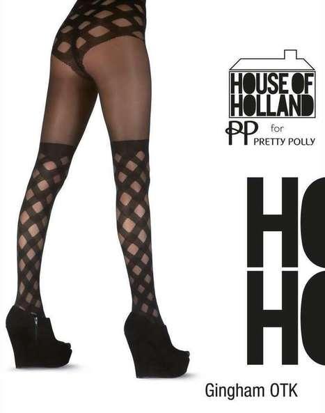 Trendy pantys met overknee-motief Gingham van House of Holland for Pretty Polly zwart, maat one size   pantys-boutique.nl   Pantys Kousen   Scoop.it