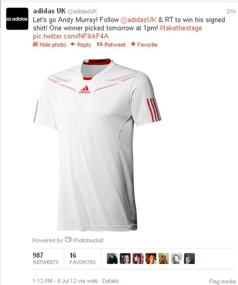 Adidas gives away shirt off Murray's back in grab for Twitter followers | Social Media Headlines | Scoop.it