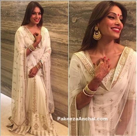 Bipasha Basu Grover in White Lehenga Choli by Anita Dongre | Indian Fashion Updates | Scoop.it