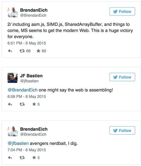 Brendan Eich » Blog Archive » From ASM.JS to WebAssembly | VisualData | Scoop.it