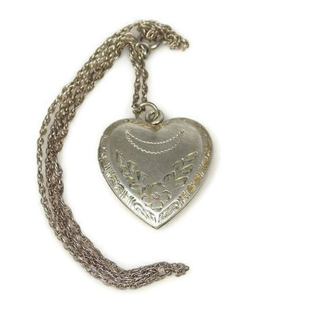 Art Deco Sterling Silver Heart Locket  Necklace Flowers Crescent Moon | Vintage Jewelry | Scoop.it