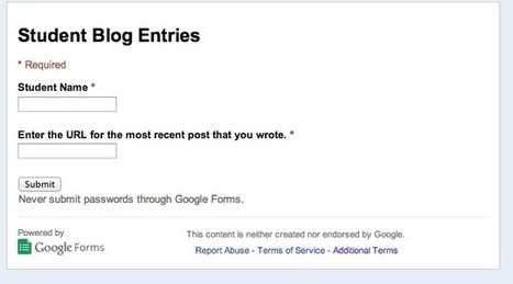 Use a Google Form to Keep Track of Student Blogs | My K-12 Ed Tech Edition | Scoop.it