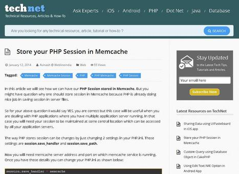 Store your PHP Session in Memcache | php | Scoop.it