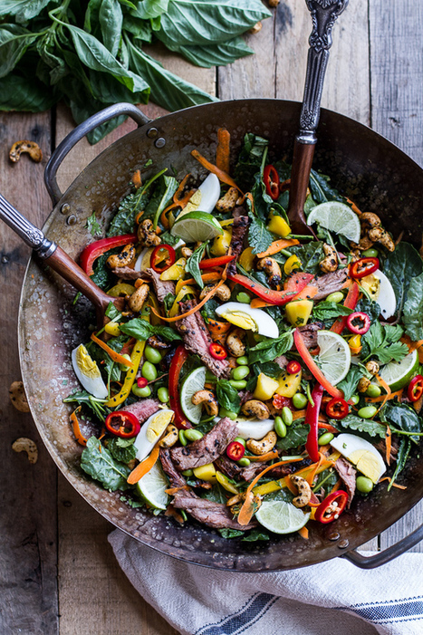 #HealthyRecipe // Thai Steak Salad w/Sweet + Spicy Tahini Dressing and Sesame Chili-Lime Cashews | The Man With The Golden Tongs Goes All Out On Health | Scoop.it