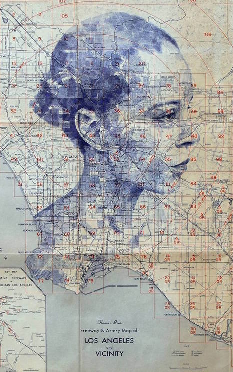 Stunning Ink and Pencil Drawings of Human Faces Emerge from Maps | Le It e Amo ✪ | Scoop.it