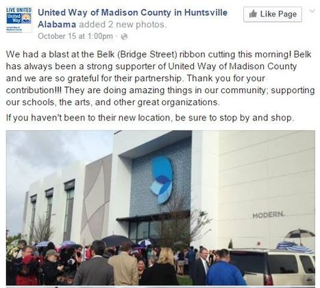 United Way of Madison County, Huntsville, Alabama | Belk Bridge Street Grand Opening | Belk, Inc. Modern. Southern. Style. | Scoop.it