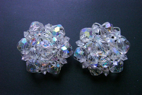 Mid Century Crystal Aurora Borealis Cluster Bead Earrings / Wedding Bridal / Clip / 1950s 1960s / Vintage Jewelry / Jewellery | Vintage and Antique Jewelry & Fashion | Scoop.it