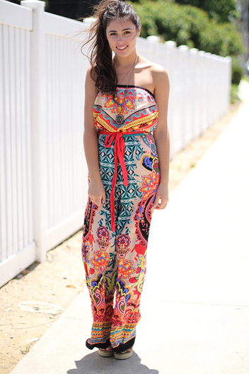 strapless printed jumpsuit | Online shopping store | Scoop.it