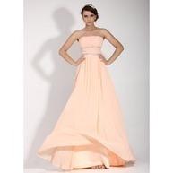[SEK 972] A-linjeformat Axelbandslös Golv-längd Chiffong Festklänning med Rufsar Pärlbrodering (020016074) | fashion dress | Scoop.it