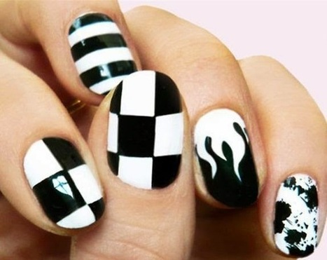 35 Beautiful Black & White Nail Art Designs and Ideas | FashionWTF | Nail Art | Scoop.it