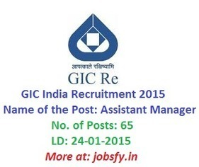 GIC India Recruitment 2015 Apply Online 65 Assistant Manager Posts on 24-01-2015 | www.gicofindia.com « jobsfy | Latest Job Alerts | Scoop.it