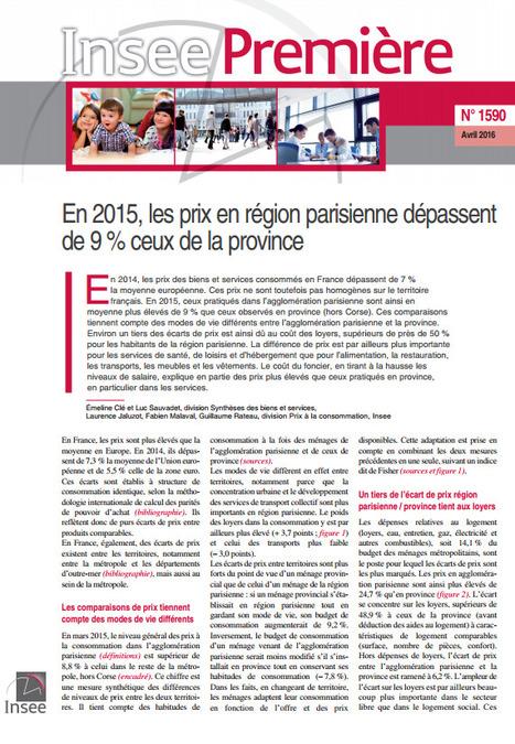 Insee> En 2015, les prix en région parisienne dépassent de 9% ceux de la province | Observer les Pays de la Loire | Scoop.it