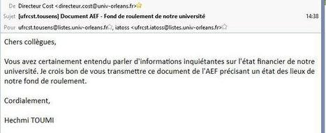 AEF, dépêche 547075 (5/10/16) : Fonds de roulements des Universités, bilan 2015 - Orléans : UN jour! | Enseignement Supérieur et Recherche en France | Scoop.it