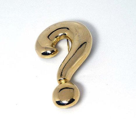 Huge Question Mark ? Brooch Pin in Goldtone - Vintage | Etsy Vintage | Scoop.it