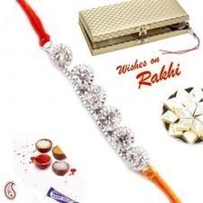 White stone and beaded Silver chain Rakhi in Premium Gift box   Rakhi Gifts to India, USA, UK, Canada, Australia   Scoop.it