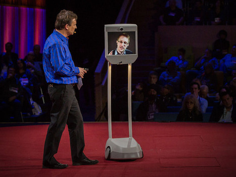 """Here's how we take back the Internet"" out surveillance & Internet freedom Appearing by telepresence robot"""" Edward Snowden speaks at TED2014 + Transcript 