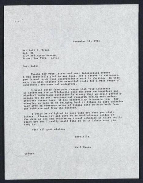 Letter from Carl Sagan to Neil DeGrasse Tyson, 1975 | Good Advice | Scoop.it