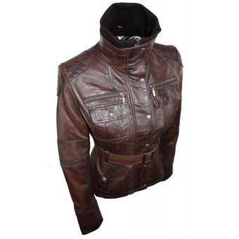 Ladies Women 100% Brown Leather Jacket Coat Military Chinese Collar Belt Vintage Slim Fit | Womens Clothing | Scoop.it