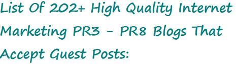 202 Internet Marketing PR3 – PR8 Blogs That Accept Guest Posts | Non-Yawn Inducing Blogging | Scoop.it