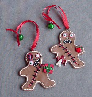 Zombie Gingerbread Men Handmade Handpainted Creepy Cute Set Of 2 Clay Ornaments   Favorites Polymer, Fimo Creations   Scoop.it