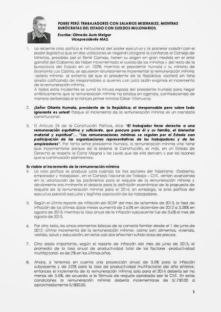 OLMEDO AURIS MELGAR : POBRE PERU, TRABAJADORES CON SALARIOS MISERABLES | NUEVO CURSO para el PERU | Scoop.it