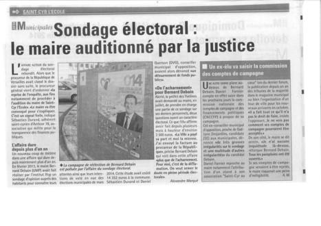 Toutes les Nouvelles de Versailles, 19 mars 2014: Sondage électoral : le maire auditionné par la justice   Reucyr, liste candidate Centre-Droite républicaine aux élections municipales 2014 de Saint-Cyr-L'Ecole (Yvelines)   Scoop.it