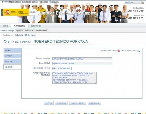 Oferta Pública de Empleo con candidato ya seleccionado