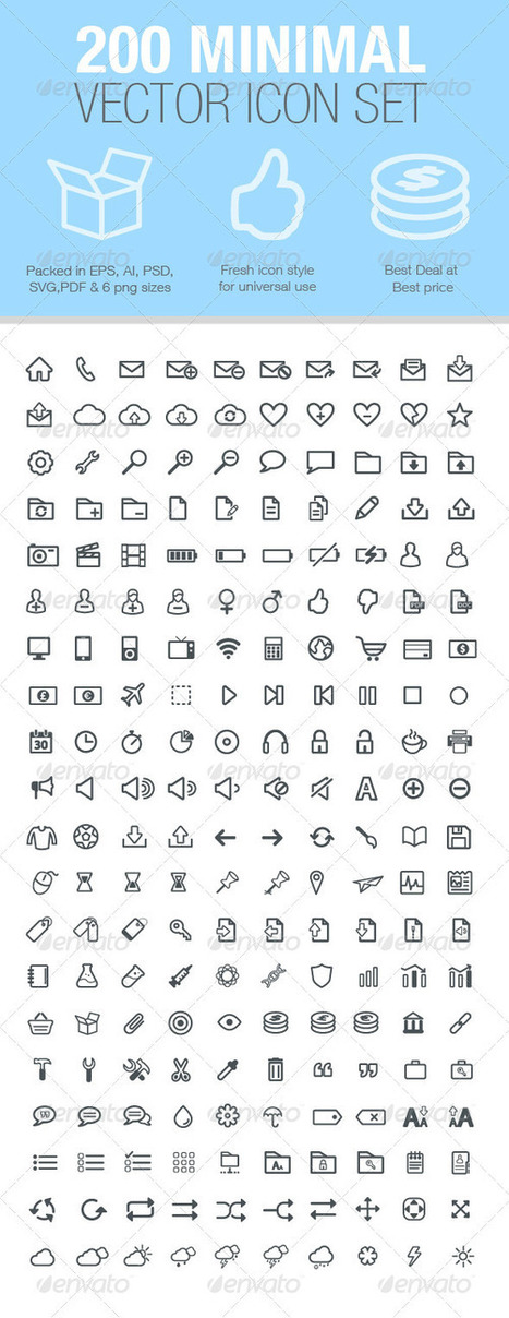 200 Minimal Vector Icon Set (Icons) | GFX Database | GFX Download | Scoop.it